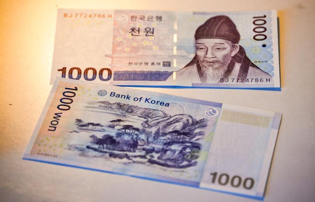 1000won bill - ITINERE HOSTEL